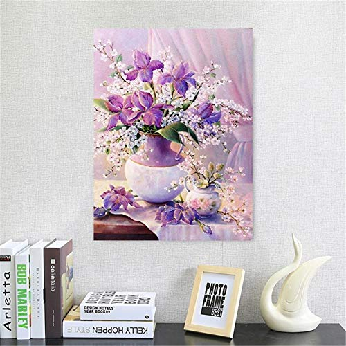 Diamond Painting Kits for Adults Flower Full Drill Diamond Painting Rhinestone Embroidery Cross Stitch Kits Diamond Arts Craft for Home Wall Room Office Decoration 60x80cm/24x32in