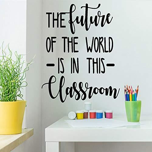 Calcomanías de pared con cita inspiradora de The Future of The World is in This Classroom, arte de vinilo para la decoración de la escuela