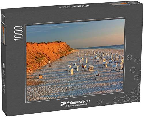 fotopuzzle.de Puzzle 1000 Teile Strand mit Strandkorben am Roten Kliff bei Sonnenuntergang bei Kampen auf Sylt an der Nordsee (1000, 200 oder 2000 Teile)