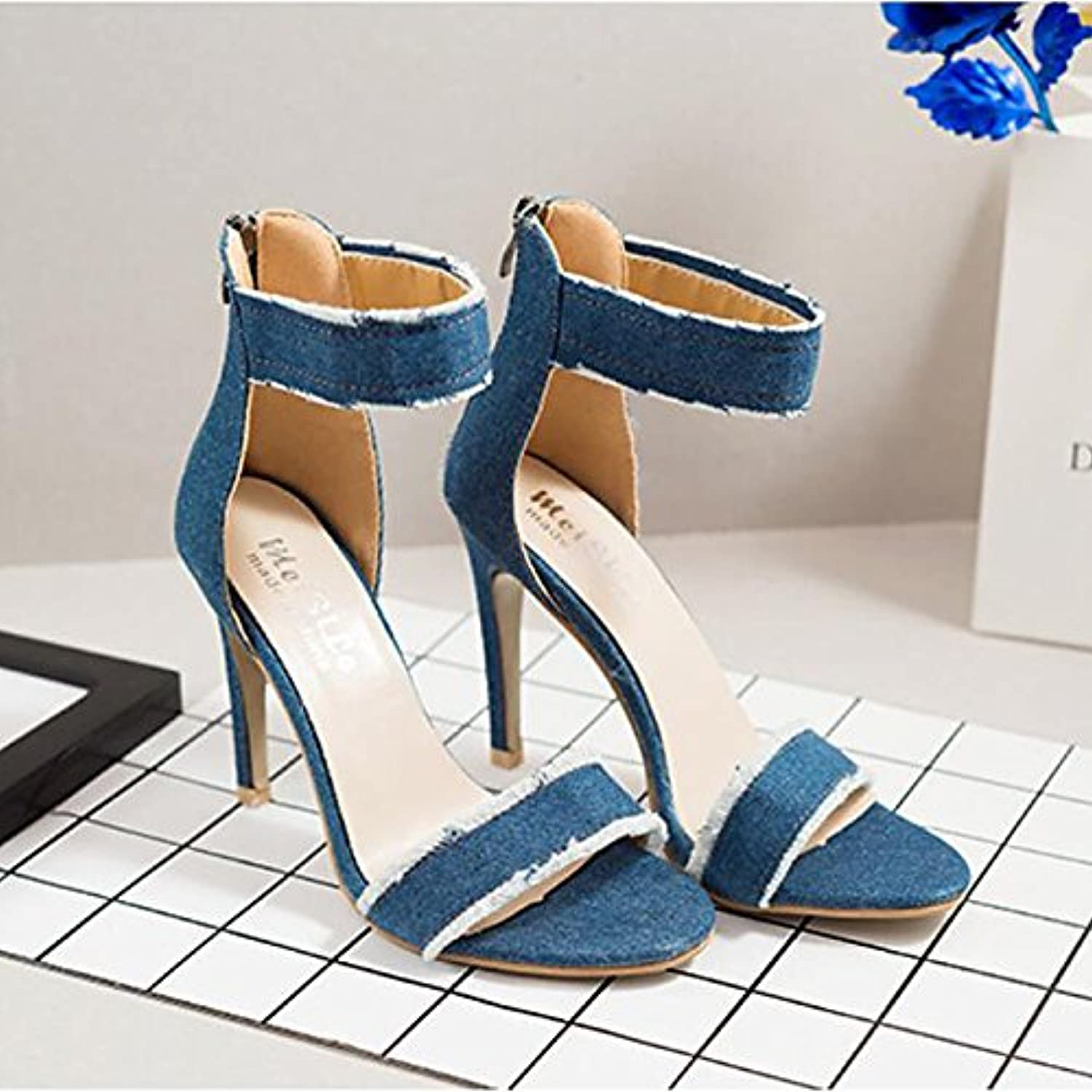 Women's shoes Denim Spring Summer,Two-Piece Basic Pump Ankle Strap Sandals Stiletto Heel Open Toe Hollow-Out for Dress Party &
