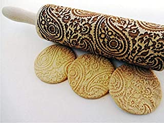 Paisley Wooden Rolling Pin Embossing Woody 3D Laser Engraved Rolling Pin for Baking Cookies Biscuit Fondant Cake Dough Clay