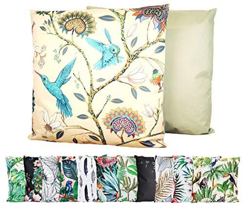 JACK XXL Outdoor Lounge Kissen 60x60cm Motiv Dekokissen Wasserfest Sitzkissen Garten Stuhl, Farbe:Vogelparadies