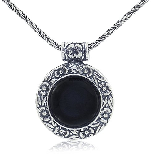 Stera Jewelry Antique Style Black Onyx Pendant Round Floral Design 925 Sterling Silver Necklace, 20'