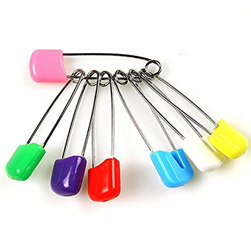 100 Pcs Diaper Pins - Sturdy, Stainless Steel Diaper Nappy Pins with Safe Locking Closures - Use for Special Events, Crafts or Colorful Laundry Pins