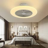 IYUNXI Modern Ceiling Fan with Light 72W 55cm Ceiling Lamp Low Noise Dimming 3-Color 3-Level Wind Speed, 1/2H Timing, Ceiling Fan with Lights and Remote for Living Room/Kid's Room