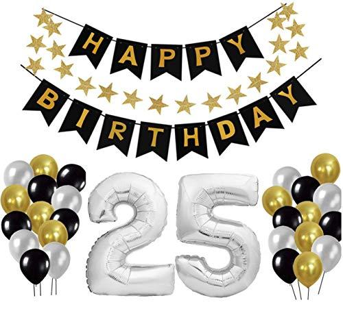 25 Geburtstag Dekoration Set, Deko Geburtstag, Geburtstagsdeko, Happy Birthday Dekoration. Zahlen Luftballons Silber XXL + 24 Große Geperlte Ballons + 1 Happy Birthday Banner (25)