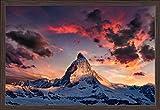 The Alps, Switzerland - Matterhorn Mountain Peak and Sunset (36x24 Giclee Art Print, Gallery Framed, Espresso Wood)