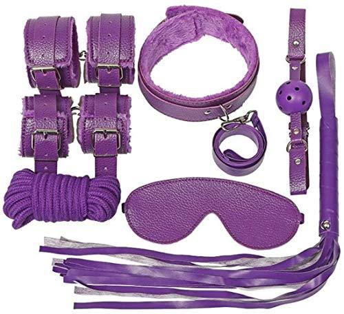 XKCCHW Erweiterbare Handschellen mit verstellbaren Ledergürteln, 7-teiliges Set, mehrere Farben,violett