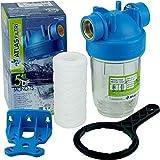 Vorfilter Nachfilter 5' Anschluss 1' Hauswasserwerk Gartenpumpe Wasserfilter m. Filtereinsatz (Faser-Filtereinsatz)