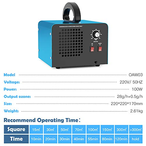 GENERATORE DI OZONO PROFESSIONALE OZONE MACHINE 10G//H DA 25 a 250 METRI QUADRATI