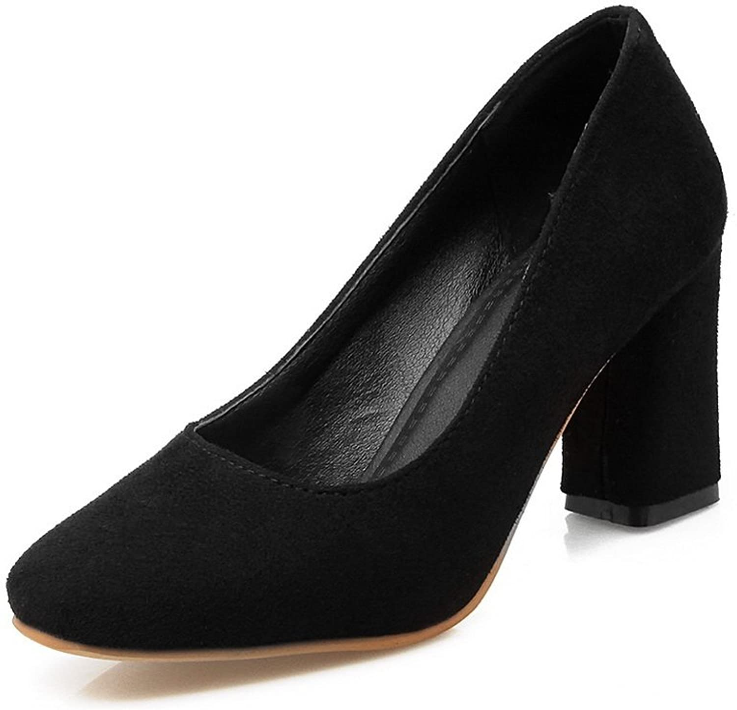 BalaMasa Ladies Square-Toe Chunky Heels Low-Cut Uppers Suede Pumps shoes