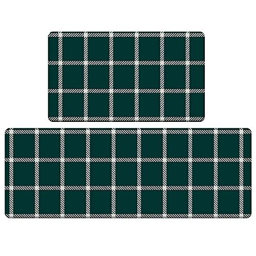 ROSMARUS Kitchen Mats Cushioned Anti Fatigue Floor Mat Non Slip Waterproof Kitchen Rugs and Mats Heavy Duty PVC Ergonomic Comfort Standing Mat for Kitchen, Sink, Laundry (Green)