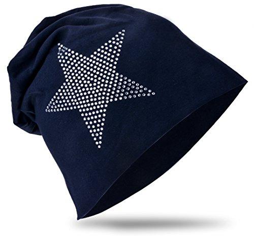 Baby Kinder Jersey Slouch Beanie Long Mütze mit Strass Stern Unisex Baumwolle Trend KBM-StrassStern-Schwarzblau-M