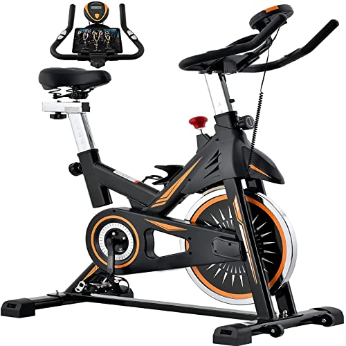 Bicicleta de Ciclismo Interior: Bicicleta de Ejercicio para el Gimnasio en casa Bicicletas estacionarias con cómodo cojín de Asiento, tracción en Silencio, Soporte para teléfonos móviles y Pulso de
