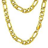 PROSTEEL Chaîne Plaqué Or Bijoux Collier Homme Maille Figaro 1+3 Single Link Chain Necklace Fashion Bijoux pour Garçon - 10mm de Large - 66cm de Long (Doré)