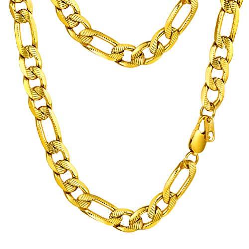PROSTEEL Gold Filled Chain Necklace for Men Jewelry Women 10MM 20Inch Figaro Metal Neck Chains Hip Hop