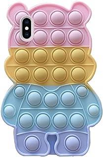 JAWSEU iPhone X/XS skal pop fidget, iPhone X/XS skal silikon söt bubbel fidgets leksaker telefonfodral, färgglad söt björn...