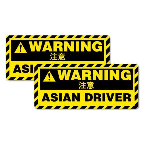 2X WARNING ASIAN DRIVER Sticker Decal