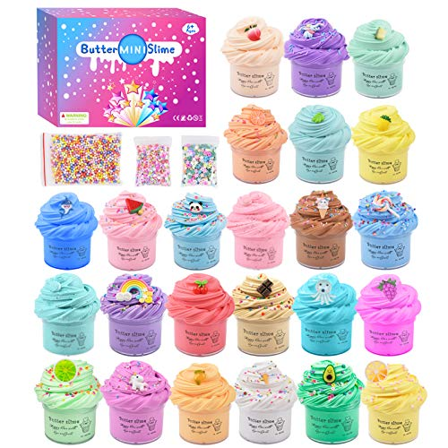 24 Packungen Mini Fluffy Slime kit ,Butter Schleim Kinder Selber Machen Set,Super Weich und Nicht Klebrig, Duftend Putty Lernspiel für Kinder und Erwachsene Stressabbau-Spielzeug