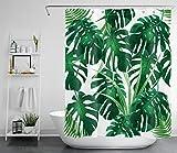LB Dunkel Grün Monstera Blätter Duschvorhang Tropischer Dschungel Pflanzen Badewanne Vorhänge Wasserdicht Anti Schimmel Weiß Polyester Badezimmer Gardinen mit 10 Haken,150x180cm