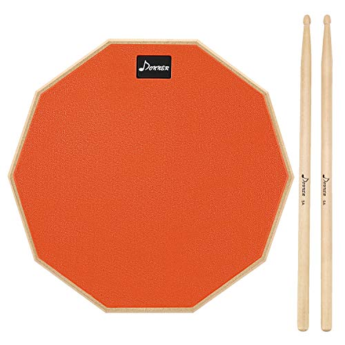 Donner 8 Inches Drum Practice Pad With Drum Sticks Orange