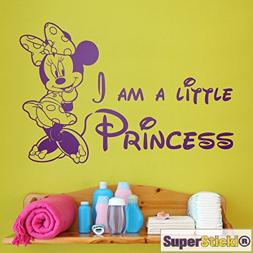 SUPERSTICKI I am a Little Princess  Comic Zeichentrick Maus Schleife Wandtattoo 60 x 60 cm Hobby Deko