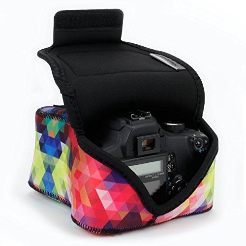 USA Gear Kameratasche für Spiegelreflexkameras: Kamera-Schutzhülle aus hochwertigem Neopren für DSLR/SLR mit Zubehörtasche, Kompatibel mit Canon EOS 1300D/200D, Nikon D3400 und mehr - Geometrishes