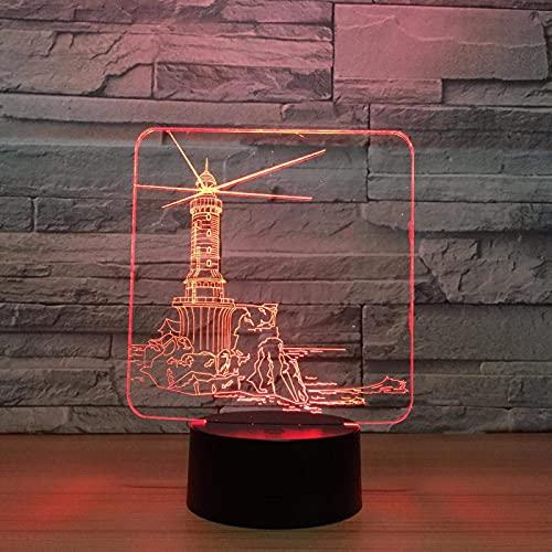 LED 3D Ilusión Lámpara de luz nocturna Torre de olas De Habitación De Niños Lámpara De Mesa Los Mejores Regalos De Vacaciones De Cumpleaños Para Niños Cambio de color colorido, con interfaz USB