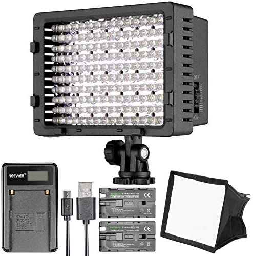 Neewer CN 160 LED Digital Camera Video Lighting Kit Dimmable LED Video Light Diffuser Rechargeable product image