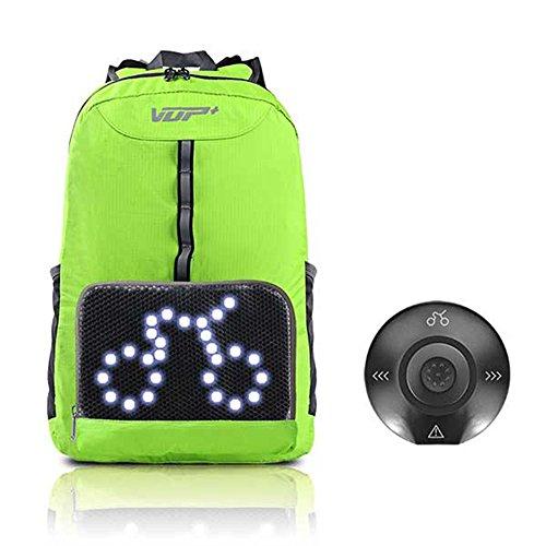 Sac à Dos de Cyclisme de Sport, Sac à Dos Pliant d'induction 3D futé et sûr extérieur, indicateur à télécommande sans Fil imperméable Fyxd (Couleur : Green)