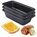 3Pcs Acero al Carbono Moldes para Pan, Recubrimiento Antiadherente Molde para Pasteles,Rectángulo Molde de Horno Tostado Molde,25×13×6.2cm