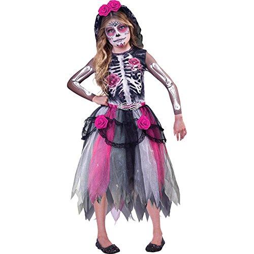 amscan 9903415 - Disfraz infantil del Da de los Muertos, esqueleto, vestido, tocado, fiesta temtica, carnaval, Halloween
