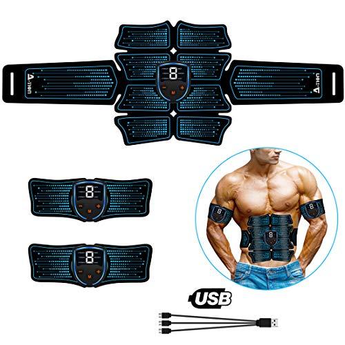 Action EMS Trainingsgerät Bauchmuskeltrainer USB Elektrostimulation für Männer Frauen, EMS Muskelstimulator Bauch Massagegerät Muskelaufbau und Fettverbrennungn Fitness Bauch Gürtel