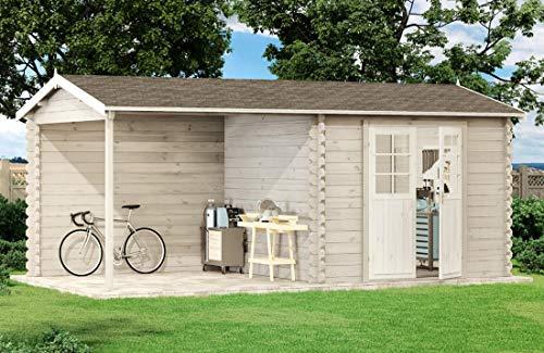 Alpholz Gartenhaus MAX-44 ISO mit Holzdach & Boden - Garten Blockhaus mit Echtglas Fenster - Massivholz Blockhütte ohne Tauchimprägnierung, normal