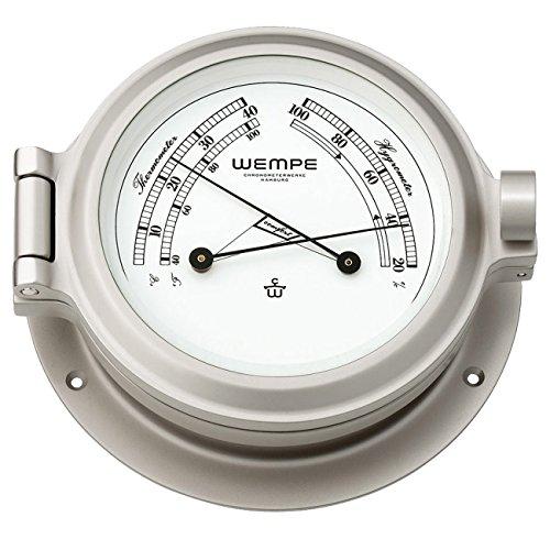 Wempe Confortmètre nickelé Nautik Ø 120 mm - Thermomètre Hygromètre