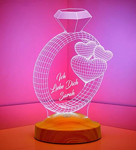 Sentidos Sevgi Lambasi Gepersonaliseerde 3D led-lamp, tekst naar wens, sluimerlicht, kleurverandering decoratieve lamp - (ringen en ballon)