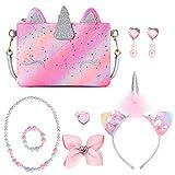 Mibasies Little Girls Dress Up Jewelry Pretend Play Kids Toddler Unicorn Purse (Pink Purple Rainbow)