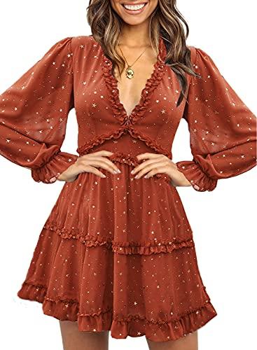 Happy Sailed Women Long Sleeve Ruffle Layer Backless Swing Mini Dresses Medium Red Stars