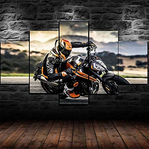 KOPASD Painting on Canvas 5 Piece Wall Art Pictures 790 Duke Bike Motorcycle Print For Home Decor Framed Artwork for Living Room Stretched Ready to Hang (200x100cm)