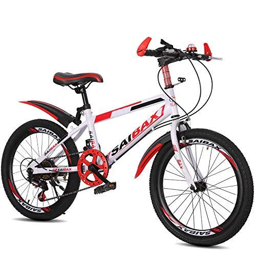 FLYFO Mountain Bike, Bici da Studente in Acciaio al Carbonio da 20/22 Pollici, Scooter A 7 velocità per Bambini, Ciclismo All'aperto, Mountain Bike, MTB,Biciclo,3,22inches