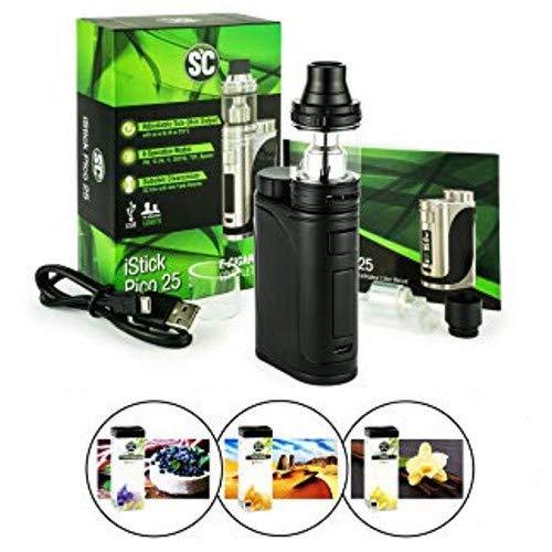 Eleaf iStick Pico 25 mit Ello 4ml Tank Verdampfer + 3x 10ml Liquid (ohne Nikotin) für E-Zigarette (schwarz)