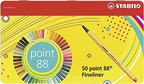Fineliner - STABILO point 88 - Scatola in Metallo da 50 - Colori assortiti