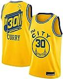 FDRYA Maglia da Basket per Uomo # 30 Golden State Warriors Stephen Curry 90S Abbigliamento Hip Hop per Lettere E Numeri,Yellow-M
