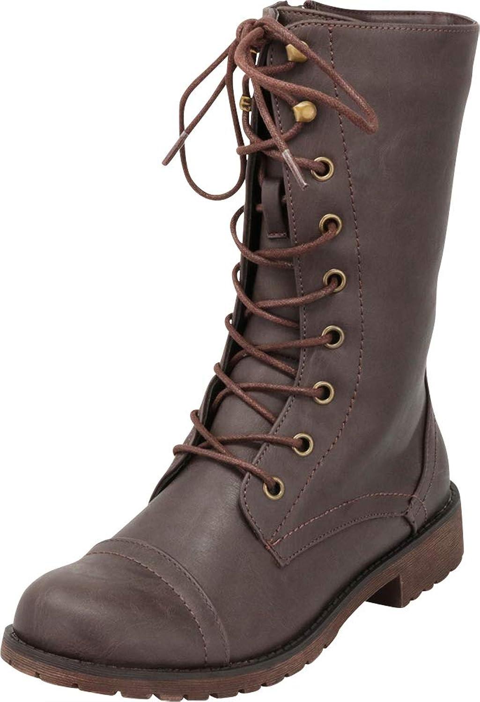 Cambridge Select Women's Round Toe Lace-up Lug Sole Combat Boot