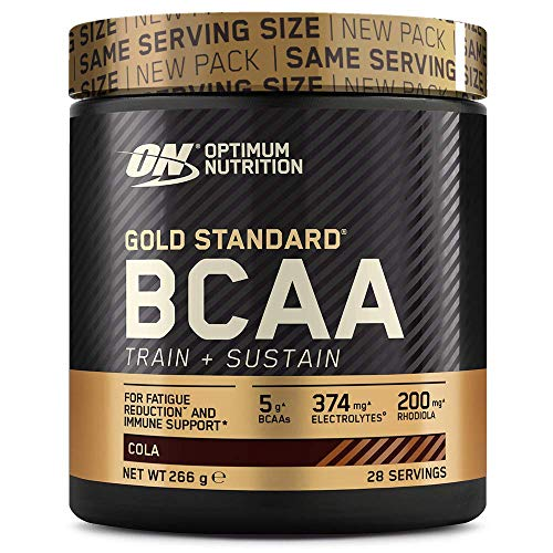 Optimum Nutrition Gold Standard BCAA, Amino Acid Powder, Vitamin C with Zinc, Magnesium and Electrolytes, Immune Booster, Cola, 28 Servings, 266 g, Packaging May Vary