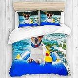 MAYBELOST Bedding Juego de Funda de Edredón,Divertido Perro Jack Russell con Gafas de Sol Sentado en el Cachorro de la Playa del Lago en la Playa,Microfibra SIN Relleno,(Cama 240x260 + Almohada)