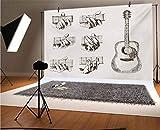 Fondo de vinilo para guitarra de 35 x 30 m, diseño de instrumento y acordes acústico, flamenco, destreza, fondo para fotografía de bebé recién nacido