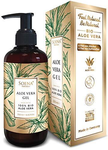 Aloe Vera Gel mit 100% BIO ALOE VERA | Ohne Alkohol & Duftstoffe| NATURKOSMETIK | Tierversuchsfrei - Feuchtigkeitspflege von Soena® - After Sun - 250 ml - Aus Saft hergestellt - Made in Germany