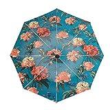日傘 折り畳み傘 レディース 8本骨 耐風 撥水折り畳み傘 210T 高密度黒グルー塗布 UVカット 遮光傘 晴雨兼用折りたたみ傘Liberty-stof-decadent-blooms-turkis