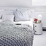 Here&There Rain Queen Decke Handgefertigt Riese Klobig Sticken Werfen Sofa Decke Handgewebt Sperrig Decke Zuhause Dekor Geschenk (120 * 150CM, Grau) -